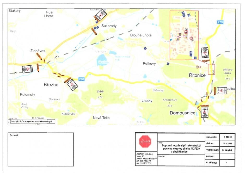 Úplná uzavírka silnice III/27939 v obci Řitonice - nový termín 27.10. - 31.10. 2021
