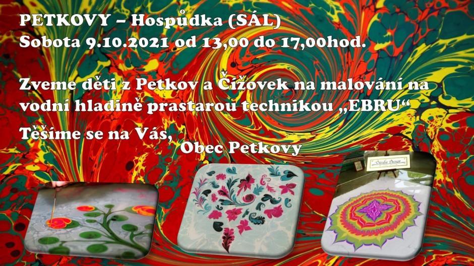 Malování na vodní hladinu v sobotu 9.10.2021 od 13 hodin na sále Hospůdky